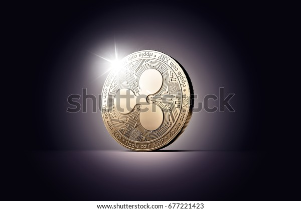 One golden Ripple coin (XRP) on a gently lit dark background. New virtual money, 3D render