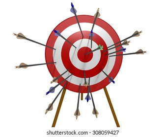 One green arrow shot into the bulls-eye of a red and white archery target with many blue and brown arrows missing the bulls-eye