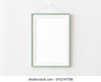 One green wooden rectangular vertical frame hanging on a white textured wall mockup, Flat lay, top view, 3D illustration