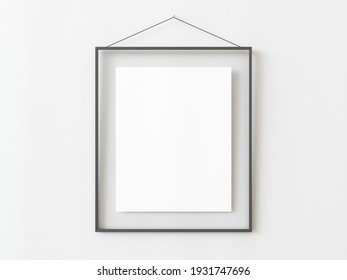 One grey rectangular vertical frame hanging on a white textured wall mockup, Flat lay, top view, 3D illustration
