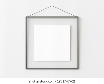 One grey squared frame hanging on a white textured wall mockup, Flat lay, top view, 3D illustration