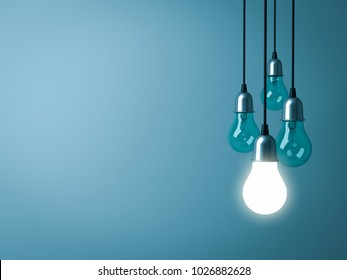 One hanging light bulb glowing with unlit incandescent bulbs on dark green pastel color background. 3D rendering.