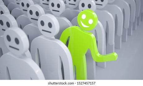 One happy green man is out of crowd of many people. 3D rendered illustration.