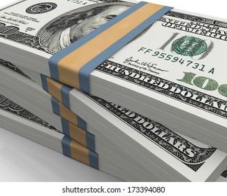 One hundred dollar (100$) bills, close up