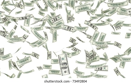One hundred dollar bills falling through air