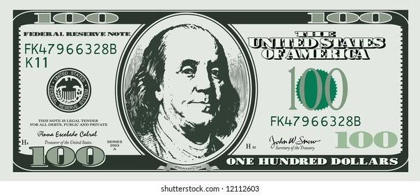 one hundred dollar - illustration