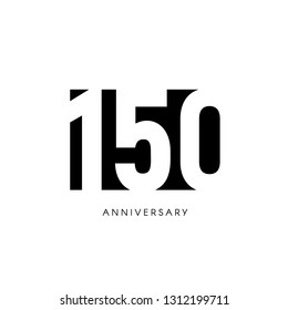 One hundred fifty anniversary, minimalistic logo. One hundred fiftieth years, 150th jubilee, greeting card. Birthday invitation. 150 year sign. Black negative space illustration on white background