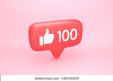 One hundred like social media notification icon with thumb up symbol and number 100 on counter. 3D illustration