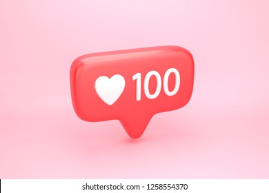 One hundred likes social media notification icon with heart symbol and number 100 on like counter. 3D illustration