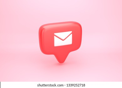 One hundred messages, letters or e-mails inbox social media notification icon with envelope symbol. 3D illustration