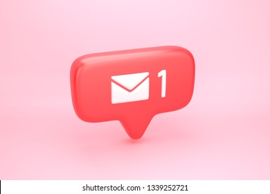 One hundred messages, letters or e-mails inbox social media notification icon with envelope symbol and number 1 on counter. 3D illustration