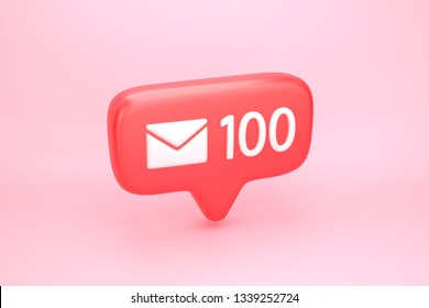 One hundred messages, letters or e-mails inbox social media notification icon with envelope symbol and number 100 on counter. 3D illustration
