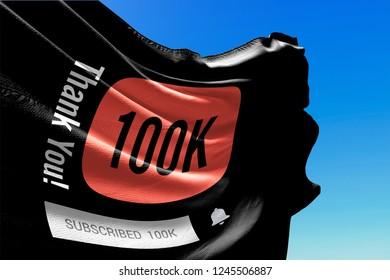 One Hundred Thousand Followers, Flag Waving, Thank You, Number, 100000, 100K, Black Background, Blue Sky, Concept Image, 3D Illustration