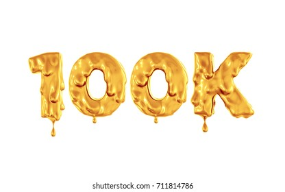 one hundred thousand Honey Numbers. Golden flowing paint on the symbol. White background. 3d render
