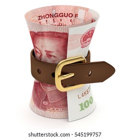 One hundred Yuan banknotes squeezed with leather belt isolated on a white background, money saving and finance concept, 3D rendering and illustration.