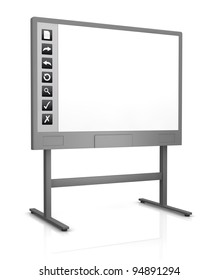one interactive whiteboard with an empty display (3d render)