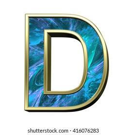 One letter from blue fractal with gold frame alphabet set isolated over white. 3D illustration.