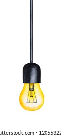 One light pendant illustration. Warm yellow glowing bulb on black cable. Vintage look, nostalgic vibe, industrial style. Hand drawn water color drawing on white, cut out design element for decoration.