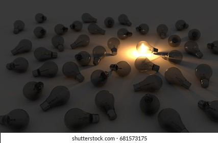 One lightbulb glowing in bunch of turned off light bulbs. Leadership, winning, accomplishment, standing out. 3D render.
