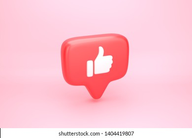 One like social media notification icon with thumb up symbol. 3D illustration