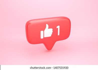 One like social media notification icon with thumb up symbol and number 1 on counter. 3D illustration