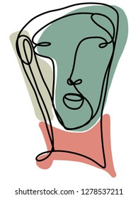One line contour illustration of an abstract portrait. There are blocks of neutral toned colors to give it an pleasing feel.