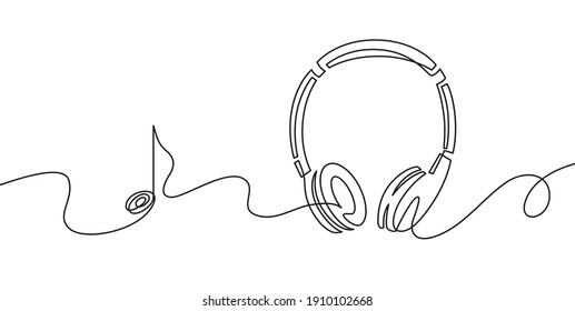 One line headphones. Continuous drawing of music gadget and note. Audio headphone outline sketch. Lineart  concept of musical symbol. Illustration headphone drawing contour monoline