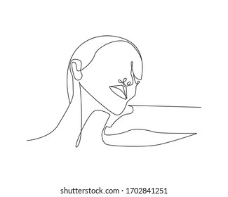 One Line Woman Astract Portrait. Minimalist Woman Portrait. Contour Face Illustration. Raster copy.