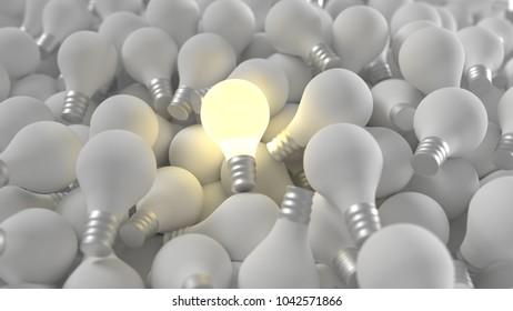 One lit light bulb among many bulbs 3D illustration. Unique idea concept