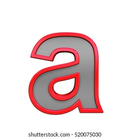 One lower case letter from gray with red frame alphabet set, isolated on white. 3D illustration.