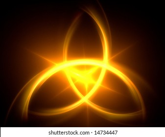 one magical abstract symbol. the triquetra in flaming yellow. pagan or christian symbolism
