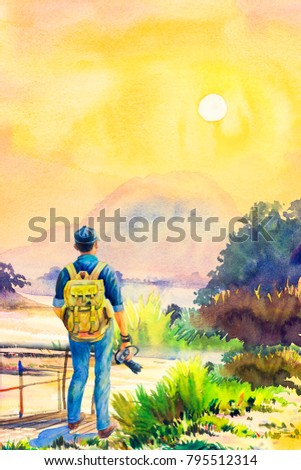 One man backpack Traveling on holiday. Watercolor lanscape painting yellow 7e59d03ecef03