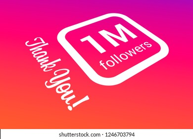 One Million Followers, 1000000, 1M, Thank You, Number, Colored Background, Concept Image, 3D Illustration