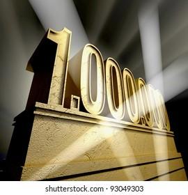 One million Number one million in golden letters on a golden pedestal