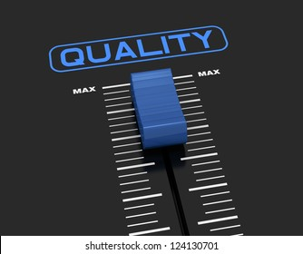 one mixer slider near to max value with the label: quality (3d render)