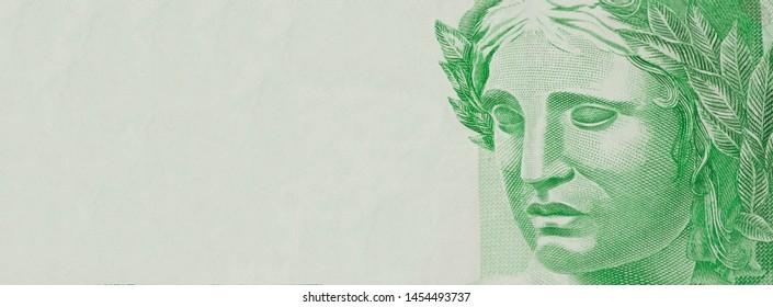 One note money. Republic's Effigy bust on Brazilian money. Economy concept image.