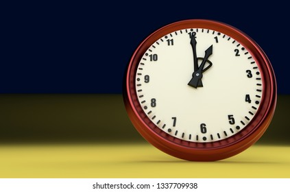 one o'clock big clock rush watch yellow background tax time 3D illustration