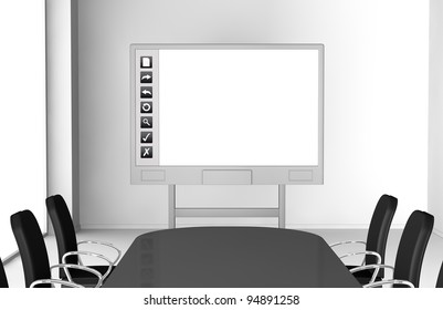 one office room with an interactive whiteboard (3d render)
