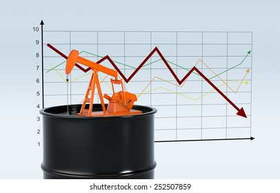 one oil barrel and a pumpjack with a chart on background (3d render)