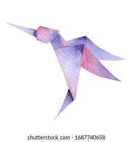 One Origami vibrant colors hummingbird. file available.