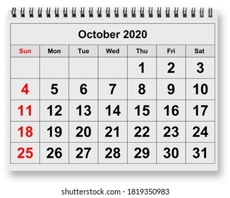One page of the annual monthly calendar - month October 2020