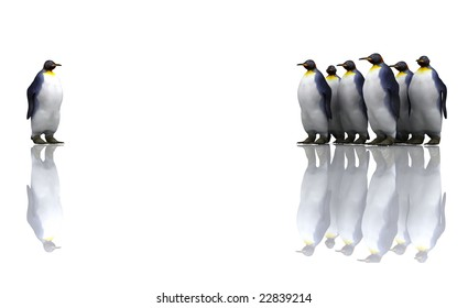 One penguin with a group of penguins