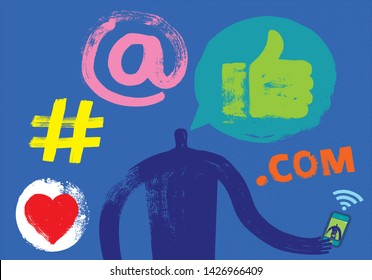One Person communicating with another person on smartphone, Head and Shoulders, Silhouette, Social Media Symbols, Grunge Texture, Skype, Skype Call, WhatsApp, Instant messaging, audio, video, online