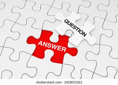 One Piece of White Jigsaw Puzzle over Plain of White Puzzle with Question and Answer Word on a red background. 3d Rendering