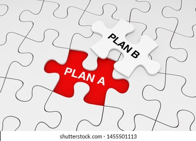 One Piece of White Jigsaw Puzzle over Plain of White Puzzle with Plan A and Plan B Words on a red background. 3d Rendering