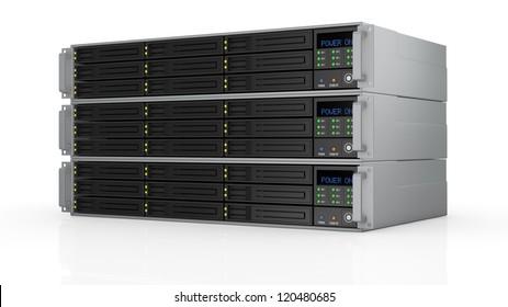 one pile of three server racks with nine hd slots, powered on (3d render)