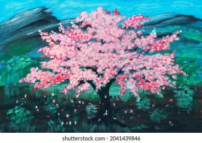 Un sakura rose en fleurs sur un terrain vert