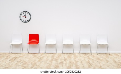 one red chair between white chairs in the waiting room - 3D Rend