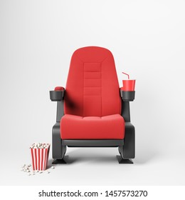 One red cinema chair with fizzy drink and box of popcorn over white background. Concept of entertainment. 3d rendering
