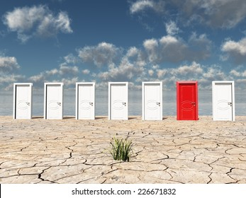 One red door among several in desert with one clump of grass